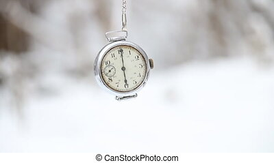 Winter time concept. - Winter time idea. Pocket watch and...