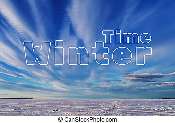 Winter Time concept. The snow on the ice of the lake with the blue sky