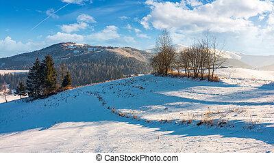 winter time in mountainous rural area. gorgeous countryside...