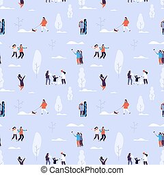 Winter time seamless pattern. Couples and kids outdoor, ...