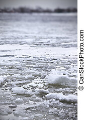 winter, time(very, volga, day), koude, rivier