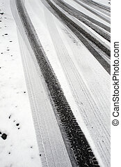 Winter tire marks in the snow