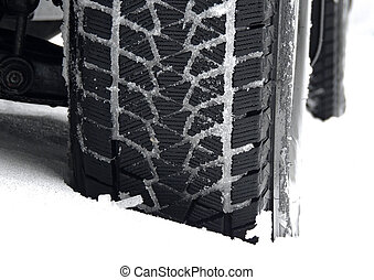 Winter tire tread blocks packed with the snow closeup