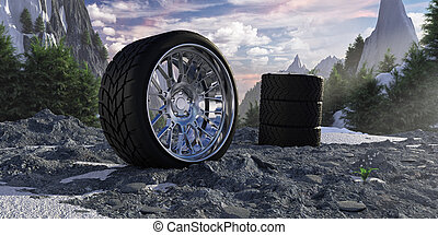 Winter tires in snowy mountains. The concept of car service and tire fitting