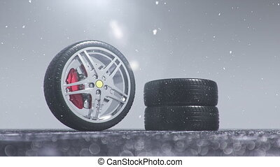 Winter tires on a background of snowstorm, snowfall and ...