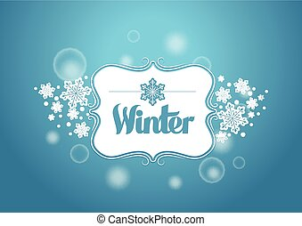 Winter Title Word with Beautiful Background with Snow Flakes...