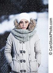winter., tonalités, filles, photos, joli, portrait, froid