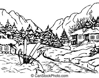 Winter town. Houses and fir trees covered with snow. On the ...