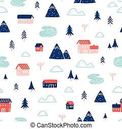 Winter town landscape pattern