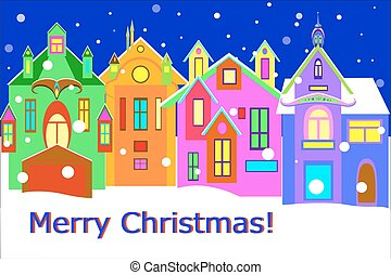 winter town street with words merry chrismas, vector ...