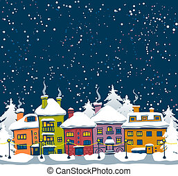 Winter night with houses and fir trees