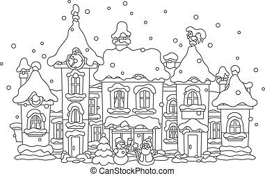 Winter toy town - Black and white vector illustration of toy...