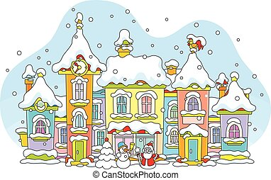 Winter toy town - Vector illustration of colorful houses...