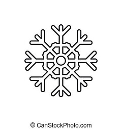 Winter traditional crystal snowflakes line icon. Holiday Xmas winter trendy decoration background. Holidays event, carnival party element icon. Children happiness. Vector linear illustration vintage.