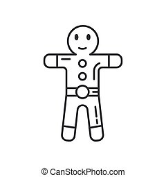 Winter traditional gingerbread smile figure line icon. Holiday Xmas winter trendy decoration background. Holidays event, carnival party element. Children happiness. Vector linear illustration vintage.