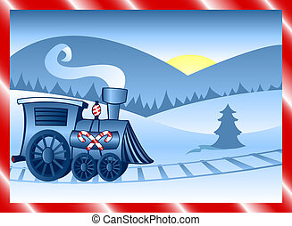 Winter Train - Holiday locomotive decorated in candycane...