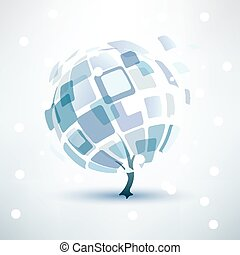 winter tree, abstract icon