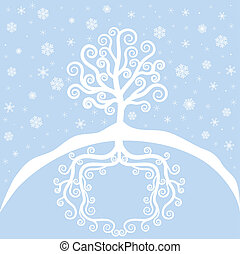 Winter tree and snowfall. Christmas card
