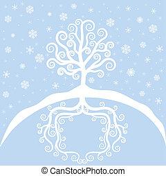 Winter tree and snowfall. Christmas card