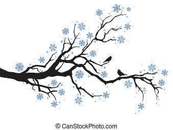 winter tree branch - winter tree with snowflakes and birds, ...
