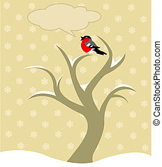 Winter tree - Vector illustration of Winter tree with Robin...