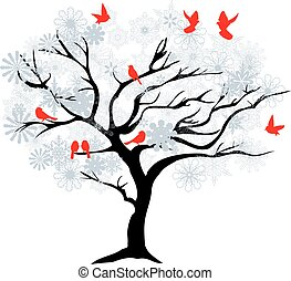 winter tree - vector Christmas tree with red birds