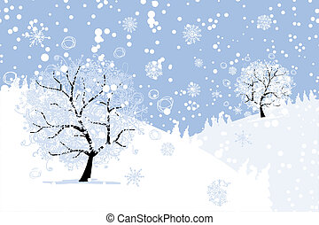 Winter tree for your design. Christmas holiday. - Winter ...