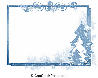 Winter Tree Frame - Winter themed blue frame with Christmas...