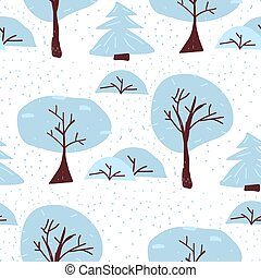 Winter tree seamless pattern. Christmas forest vector illustration. Scandinavian foggy background. Creative woodland wrapping.