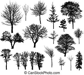 20 beautiful winter tree silhouettes, highly detailed, young and old trees. Easy to change color.