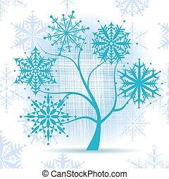 Winter tree, snowflakes. Christmas