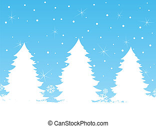 Winter tree - Three fur-trees against the blue sky. A vector...