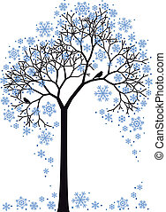 winter tree, vector - winter tree with snowflakes, vector ...