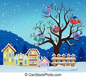 Winter tree with birds theme
