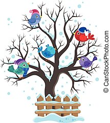 Winter tree with birds theme image 1