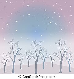 Winter Tree with few berries and Red Birds on a cold looking background with mountains and dark snowy sky. Season Nature. Snowy Natural Landscape. Vector Illustration.