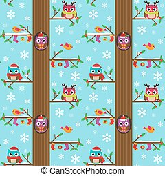 Winter tree with owls pattern