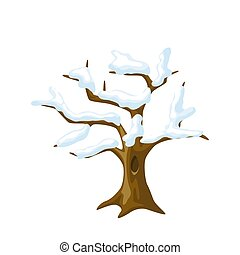 Winter tree with snow on branches. Seasonal illustration.