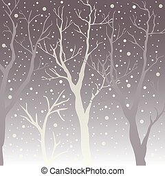 Winter Trees Background. Winter landscape with trees, snow. Snow In Forest.