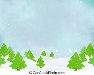 Winter Trees Christmas Landscape Background