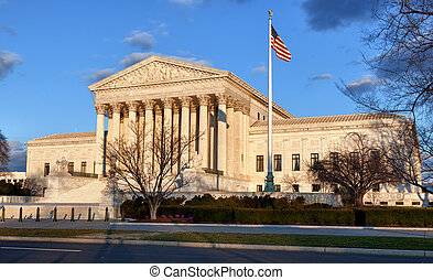Winter trees frame Supreme court