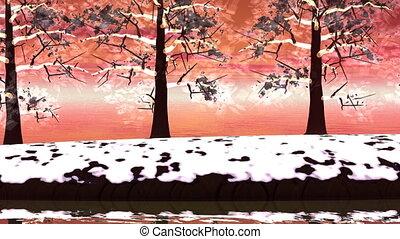 Winter trees landscape - 3D render