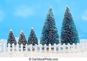 winter trees with fence