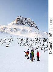winter, trek, gids