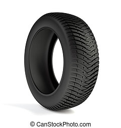 Winter tyre - 3d render of high detaled winter tyre isolated...