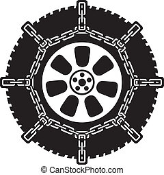winter tyre with snow chains, tire with snow chains