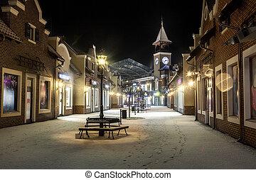 winter, uhr, straße, nacht, turm, landschaftsbild