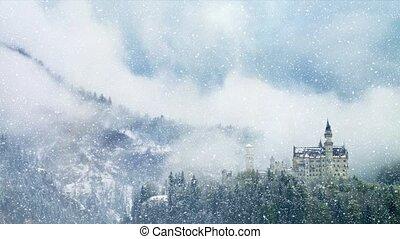 winter, unesco, schnee, standort, früh, neuschwanstein,...