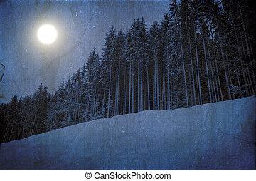 Winter unreal landscape - Bizarre dark winter landscape in...