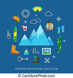 Winter vacation flat vector icons set on a background